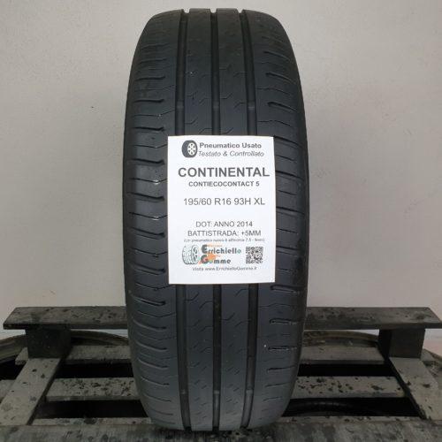 195/60 R16 93H XL Continental ContiEcoContact 5 – 60% +5mm Gomma Estiva