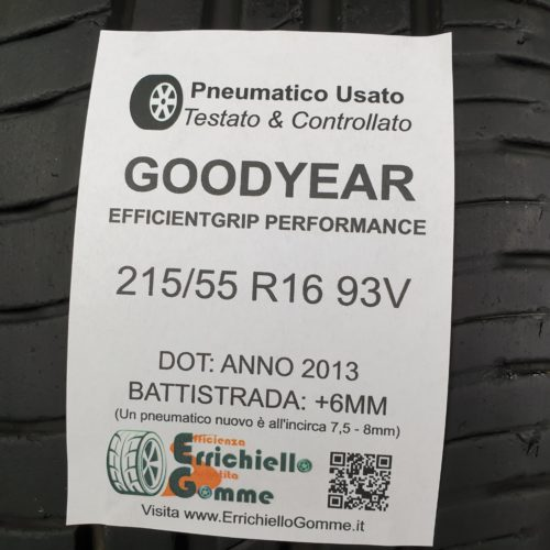 215/55 R16 93V Goodyear EfficientGrip Performance  – 70% +6mm Gomme Estive