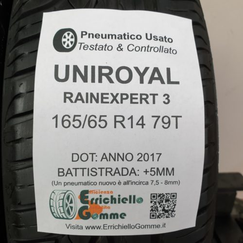 165/65 R14 79T Uniroyal RainExpert 3  – 60% +5mm – Gomme Estive