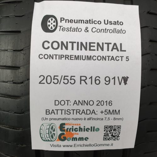 205/55 R16 91V Continental ContiPremiumContact 5  – 60% +5mm – Gomme Estive