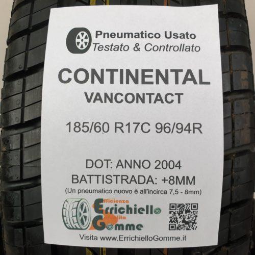 185/60 R17C 96/94R Continental VanContact – 100% +8mm Gomma Estiva Trasporto
