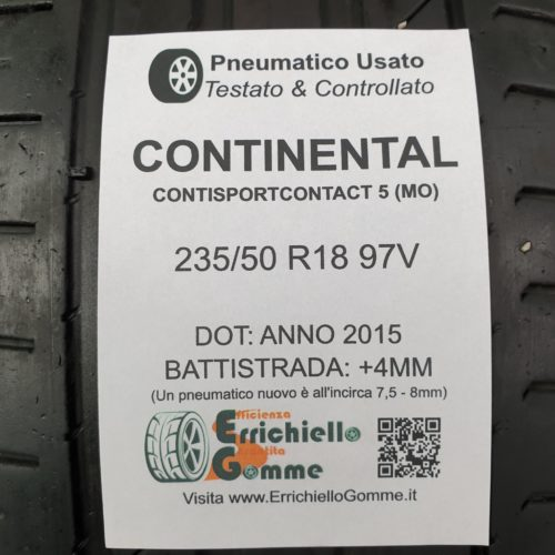 235/50 R18 97V Continental ContiSportContact 5 (MO) – 50% +4mm – Gomma Estiva