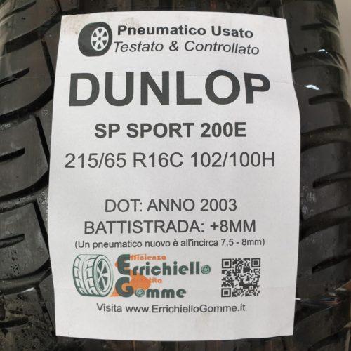 215/65 R16C 102/100H Dunlop SP Sport 200E – 100% +8mm Gomma Estiva Trasporto