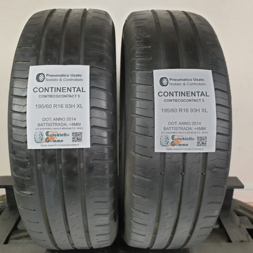 195/60 R16 96H XL Continental ContiEcoContact 5  – 50% +4mm – Gomme Estive