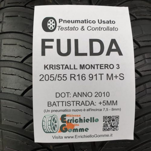 205/55 R16 91T M+S Fulda Kristall Montero 3 – 60% +5mm – Gomme Invernali