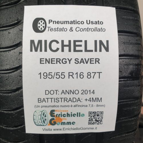 195/55 R16 87T Michelin Energy Saver – 50% +4mm – Gomme Estive