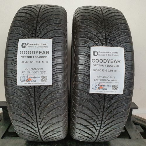 205/60 R16 92H Goodyear Vector 4 Seasons – 70% +6mm – Gomme 4 Stagioni