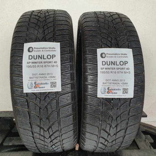 195/55 R16 87H M+S Dunlop Winter Sport 4D – 60% +5mm – Gomme Invernali