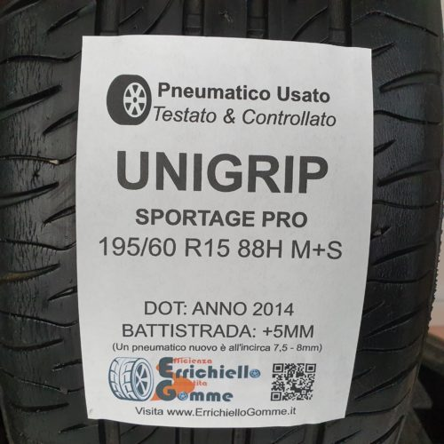 195/60 R15 88H M+S Unigrip Sportage Pro – 60% +5mm – Gomme 4 Stagioni