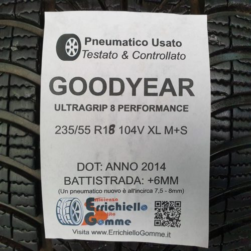 235/55 R18 104V XL M+S Goodyear UltraGrip 8 Performance – 70% +6mm Gomme Invernali