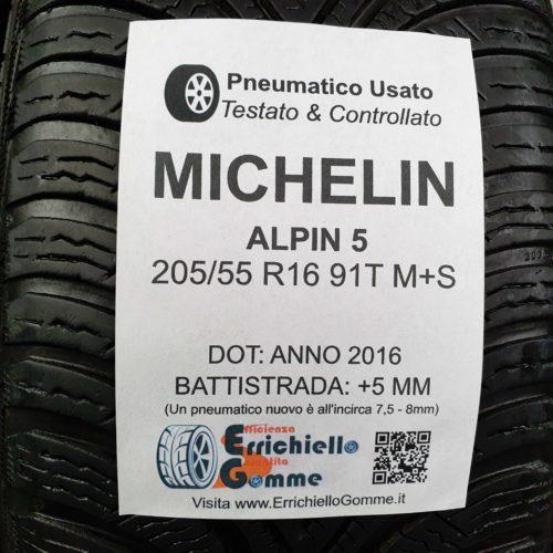 205/55 R16 91T M+S Michelin Alpin 5 – 60% +5mm Gomme Invernali