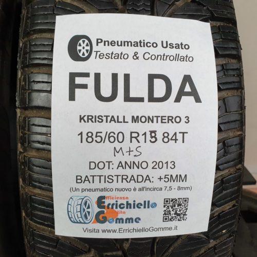 185/60 R15 84T M+S Fulda Kristall Montero 3 – 60% +5mm – Gomme Invernali