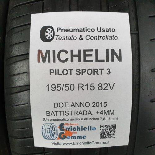 195/50 R15 82V Michelin Pilot Sport 3 – 50% +4mm – Gomme Estive