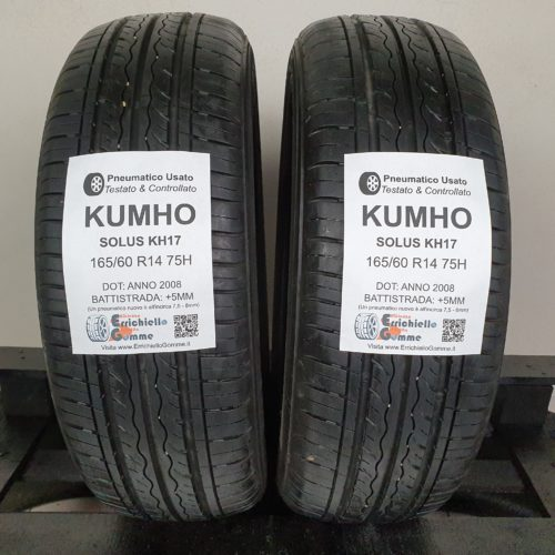 165/60 R14 75H Kumho Solus KH17 – 60% +5mm – Gomme Estive