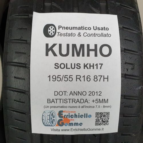 195/55 R16 87H Kumho Solus KH17 – 60% +5mm – Gomme Estive