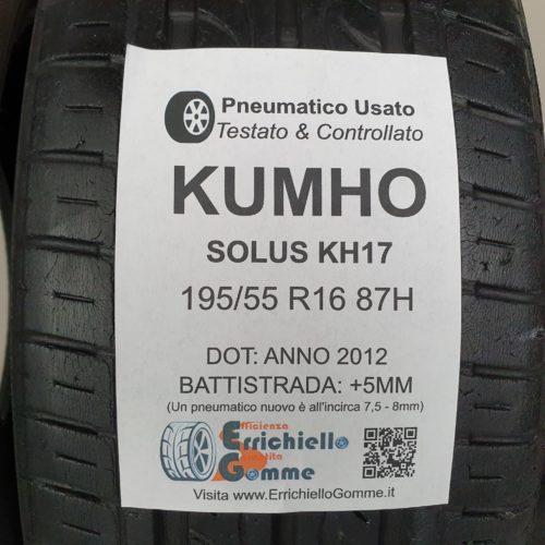 195/55 R16 87H Kumho Solus KH17 – 60% +5mm – Gomme Estive
