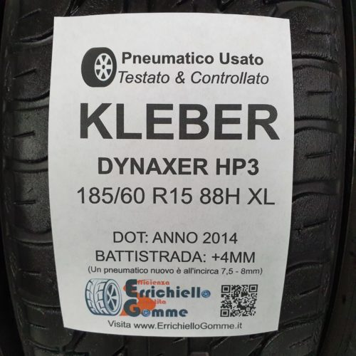 185/60 R15 88H XL Kleber Dynaxer HP3 – 50% +4mm – Gomme Estive