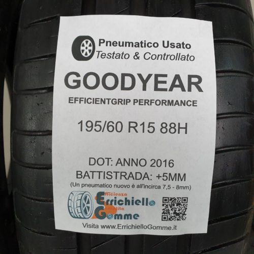 195/60 R15 88H Goodyear EfficientGrip Performance – 60% +5mm Gomme Estive
