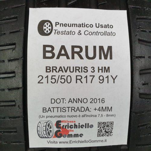 215/50 R17 91Y Barum Bravuris 3 HM – 50% +4mm – Gomme Estive
