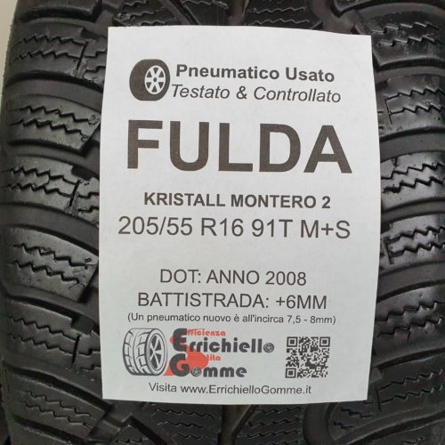 205/55 R16 91T M+S Fulda Kristall Montero 2 – 70% +6mm – Gomme Invernali