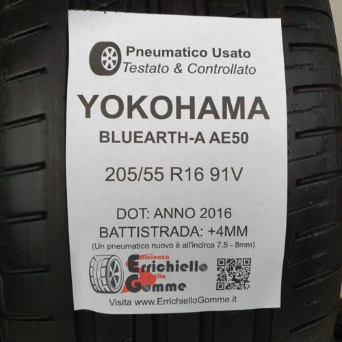 205/55 R16 91V Yokohama Bluearth-A AE50 –  50% +4mm – Gomme Estive