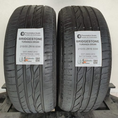 215/55 ZR16 93W Bridgestone Turanza ER300 – 60% +5mm – Gomme Estive