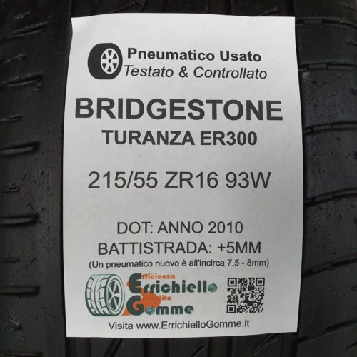 215/55 ZR16 93W Bridgestone Turanza ER300 – 60% +5mm – Gomme Estive