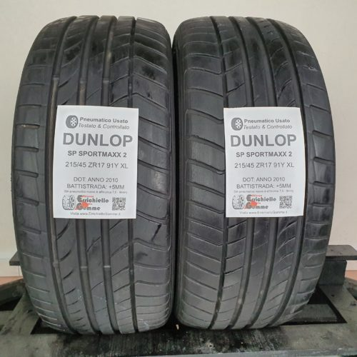 215/45 ZR17 91Y XL Dunlop SP SportMaxx 2 – 60% +5mm – Gomme Estive