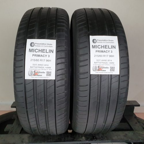 215/60 R17 96H Michelin Primacy 3 –  50% +4mm – Gomme Estive