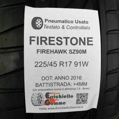 225/45 R17 91W Firestone Firehawk SZ90M – 50% +4mm Gomme Estive