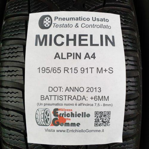 195/65 R15 91T M+S Michelin Alpin A4 – 70% +6mm Gomme Invernali