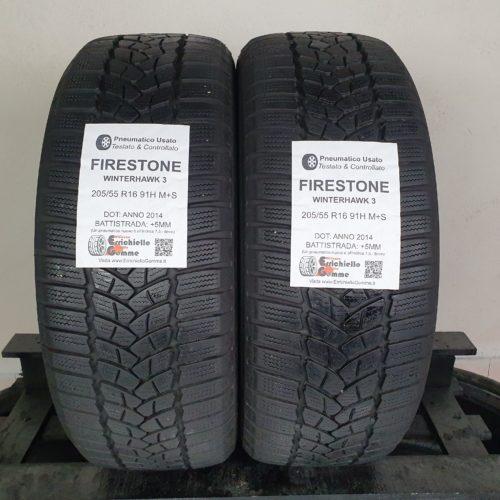 205/55 R16 91H M+S Firestone WinterHawk 3 – 60% +5mm – Gomme Invernali