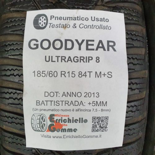 185/60 R15 84T M+S Goodyear UltraGrip 8 – 60% +5mm – Gomme Invernali