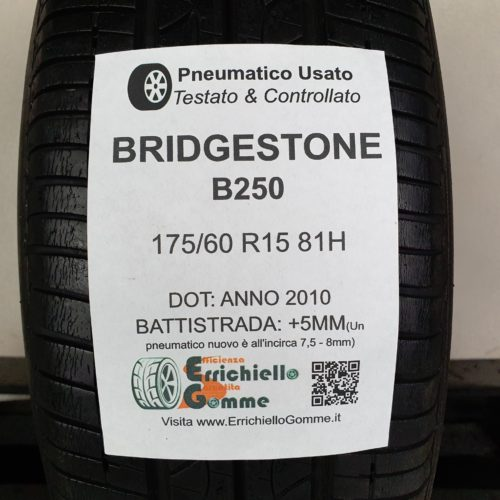 175/60 R15 81H Bridgestone B250 – 60% +5mm – Gomma Estiva
