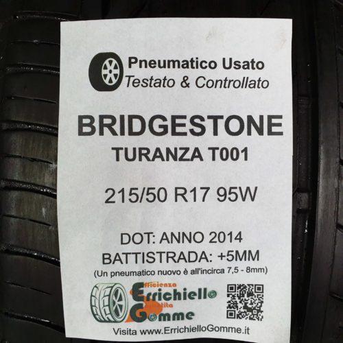215/50 R17 95W Bridgestone Turanza T001 – 60% +5mm Gomma Estiva