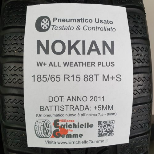 185/65 R15 88T M+S Nokian W+ All Weather Plus – 60% +5mm – Gomme 4 Stagioni
