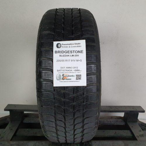 205/55 R17 91V M+S Bridgestone Blizzak LM-25V  – 70% +6mm Gomma Invernale