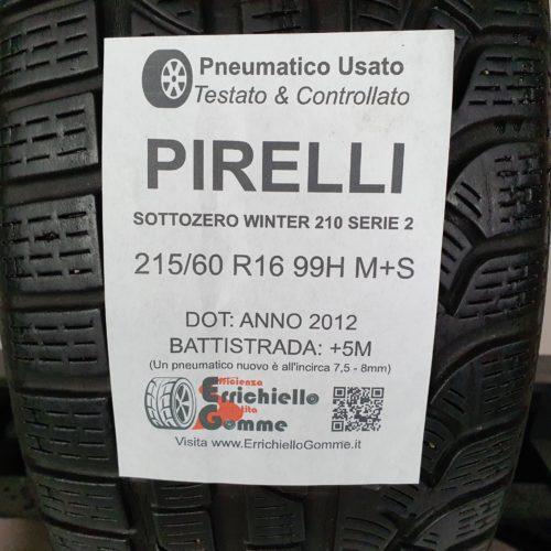 215/60 R16 99H M+S Pirelli Sottozero Winter 210 Serie 2 – 60% +5mm – Gomma Invernale