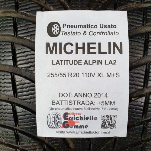 255/55 R20 110V XL M+S Michelin Latitude Alpin LA2 – 60% +5mm Gomma Invernale