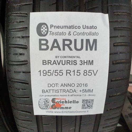 195/55 R15 85V Barum Bravuris 3HM –  60% +5mm – Gomme Estive