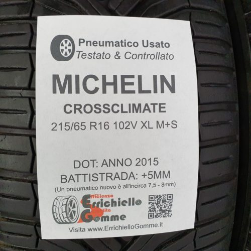 215/65 R16 102V XL M+S Michelin CrossClimate – 60% +5mm Gomme 4 Stagioni