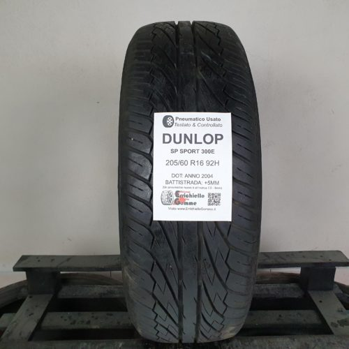 205/60 R16 92H Dunlop SP Sport 300E – 60% +5mm – Gomma Estiva