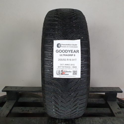 205/55 R16 91T M+S Goodyear UltraGrip 8 – 60% +5mm Gomma Invernale