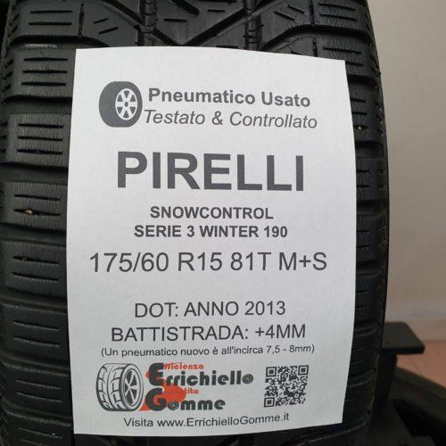 175/60 R15 81T M+S Pirelli SnowControlo Serie 3 Winter 190 – 50% +4mm – Gomme Invernali