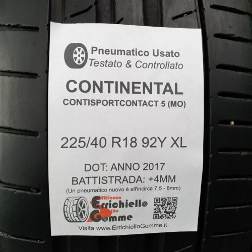 225/40 R18 92Y XL Continental ContiSportContact 5 (MO) –  50% +4mm – Gomme Estive