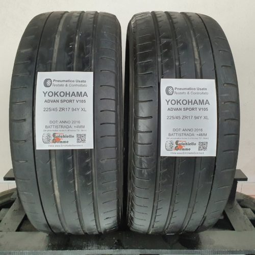 225/45 ZR17 94Y XL Yokohama Advan Sport V105 – 50% +4mm – Gomme Estive