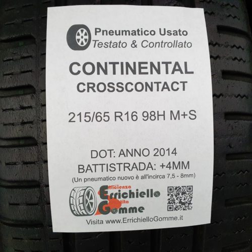 215/65 R16 98H M+S Continental CrossContact – 50% +4mm – Gomme 4 Stagioni