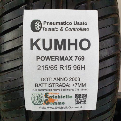 215/65 R15 96H Kumho Powermax 769 – 90% +7mm – Gomma Estiva