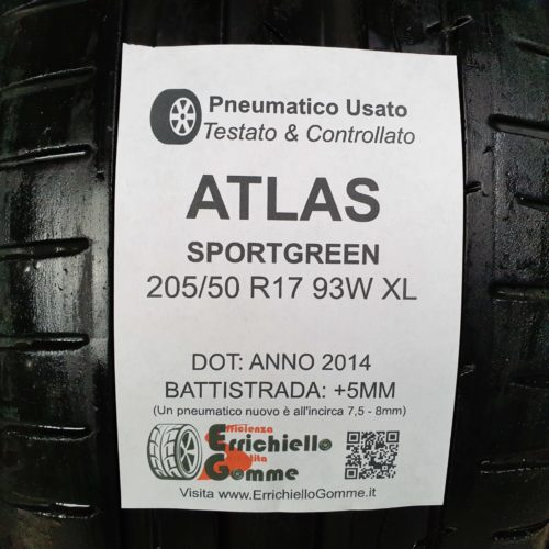 205/50 R17 93W XL Atlas Sportgreen – 60% +5mm – Gomme Estive