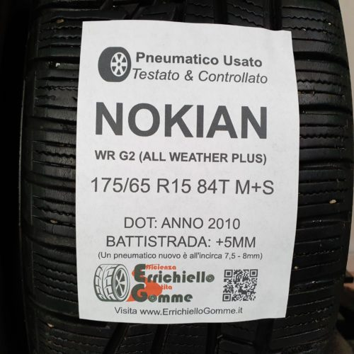 175/65 R15 84T M+S Nokian WR G2 (All Weather Plus) – 60% +5mm Gomme 4 Stagioni